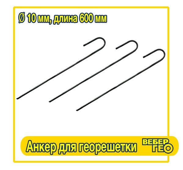 Анкер для георешетки (600 мм, диам.10 мм, вес.0,466 гр.)